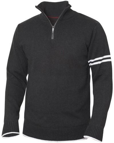 New Wave Highland sweater met rits-XS-Antraciet melange