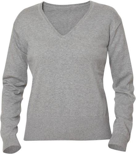 Clique Aston dames V-neck sweater-S-Grijsmelange