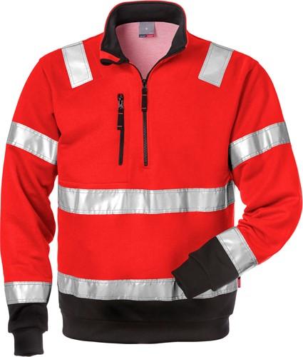 Fristads High vis sweatshirt met korte rits klasse 3 728 BPV-XS-Hi-Vis rood/zwart-1