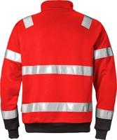 Fristads High vis sweatshirt met korte rits klasse 3 728 BPV-XS-Hi-Vis rood/zwart-2