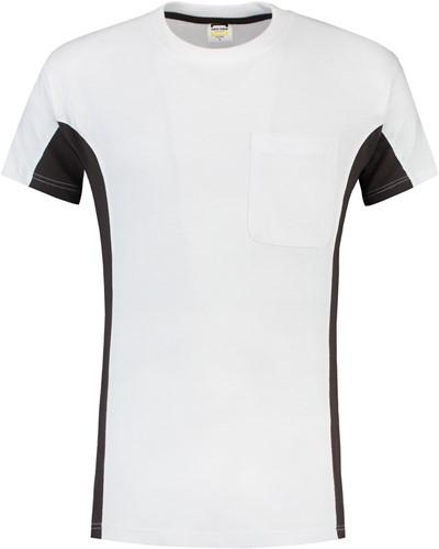 Tricorp TT2000 T-Shirt Bicolor Borstzak -XS-Wit/Donker Grijs