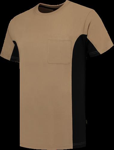 SALE! Tricorp TT-2000 T-Shirt Bicolor Borstzak - Khaki/Zwart - Maat 5XL