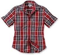 Carhartt Slim Fit Plaid Short Sleeve blouse-S-Donker Crimson-Donker Cobalt blauw