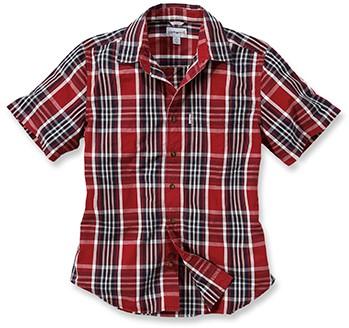 Carhartt Slim Fit Plaid Short Sleeve blouse-S-Donker Crimson-Donker Cobalt blauw-1