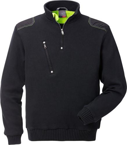 Fristads Gebreide sweater met korte rits 7100 BLK