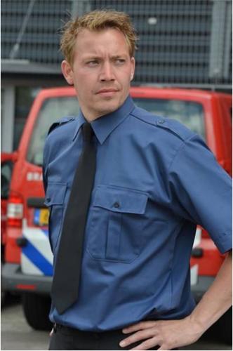 Heren Pilot shirt - KM Marine blauw