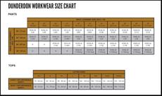 Dunderdon Werkkleding Maattabel-234