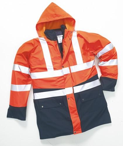 Hydrowear Polperro Parka - Zwart/Fluor Oranje-M
