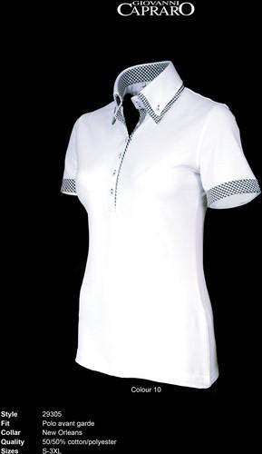 SALE! Giovanni Capraro 29305-10 Dames Polo - Wit [Zwart accent] - Maat M