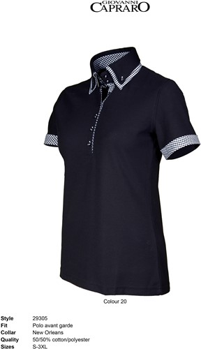 Giovanni Capraro 29305-20 Polo - Zwart [Wit accent]