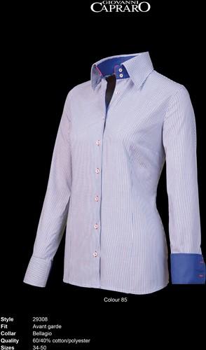 Giovanni Capraro 29308-85 Blouse - Blauw gestreept [Navy*Rood accent]