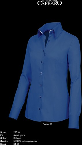 Giovanni Capraro 29316-10 Blouse - Donker Blauw [Wit accent]