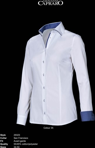 Giovanni Capraro 29323-35 Blouse - Wit [Blauw accent]