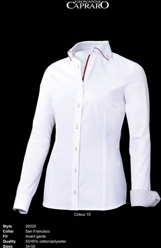 Giovanni Capraro 29325-10 Blouse - Wit [Rood accent]