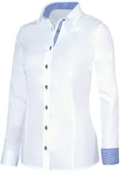 Giovanni Capraro 29335-36 Blouse - Wit [Blauw accent]
