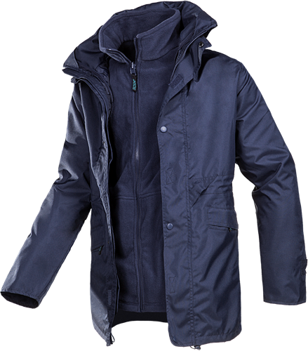 Sioen Crossfield 3 in 1 Winter Parka Met Uitneembare Fleece Jas-S-Marineblauw