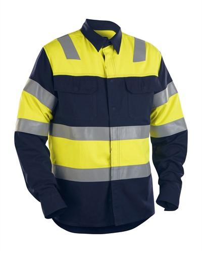 Blaklader 32281515 FR Overhemd High Vis - Navy/Geel