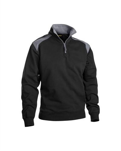 Blaklader 33531158 Sweatshirt Bi-Colour met halve rits-XS-Zwart/Grijs-1