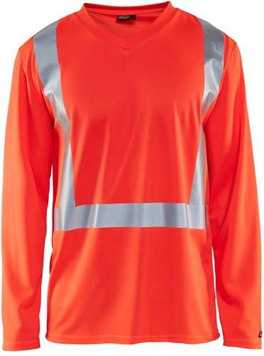 Blaklader 33831011 T-shirt lange mouw High Vis-XS-Fluor Rood