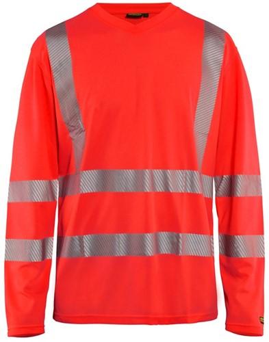 Blaklader 33851013 T-shirt lange mouw High Vis-XS-Fluor Rood