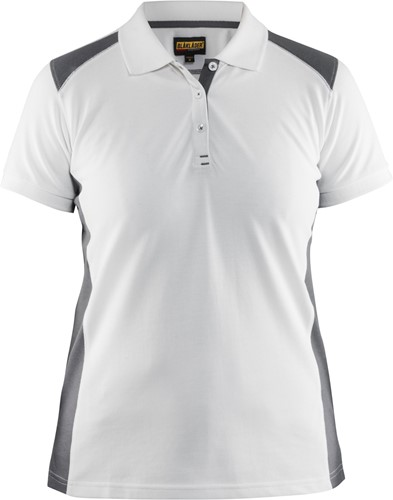 Blaklader 33901050 Dames Poloshirt Piqué-XS-Wit/grijs