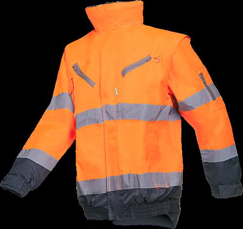 Sioen Campbell Signalisatie Winterblouson met uitritsbare mouwen-S-Fluo Oranje/Marine-1