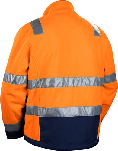 Blaklader 48392545 Fleecejas High Vis-S-Oranje/Marineblauw