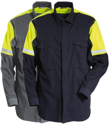 Tranemo Overhemd Vlamvertragend Hi-Vis 577091-XS-Grijs/Geel