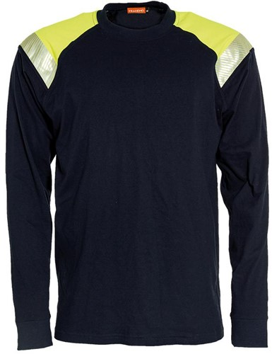 Tranemo FR T-shirt Lange Mouw Vlamvertragend 637289-XS-Geel/Marine