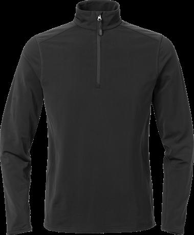 Acode Dames superstretch sweatshirt met korte rits-Zwart-S