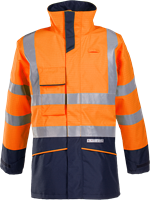 Sioen Hedland Vlamvertragende en Antistatische Signalisatie Regenparka-XS-Fluo Oranje/Marine-1