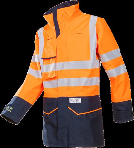 Sioen Orrington Signalisatie Regenjas met ARC bescherming (Kl 1)-S-Fluo Oranje/Marine