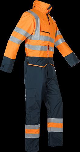 Sioen Carret Vlamvertragende en Antistatische Signalisatie Winter Regenoverall-S-Fluo Oranje/Marine