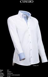 Giovanni Capraro 901-10 Overhemd - Wit [Blauw accent]