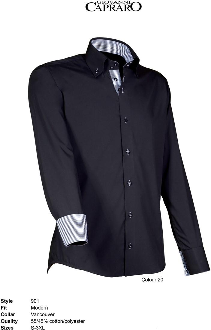 d4c0315e160 Giovanni Capraro 901-20 Overhemd - Zwart [Grijs accent] WorkWear4All