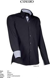 Giovanni Capraro 901-20 Overhemd - Zwart [Blauw accent]