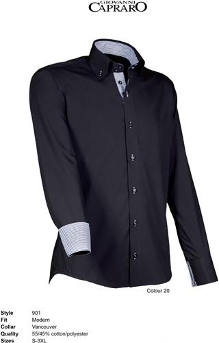 Giovanni Capraro 901-20 Overhemd - Zwart [Grijs accent]