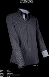 Giovanni Capraro 902-20 Overhemd - Zwart gestreept [Zwart accent]