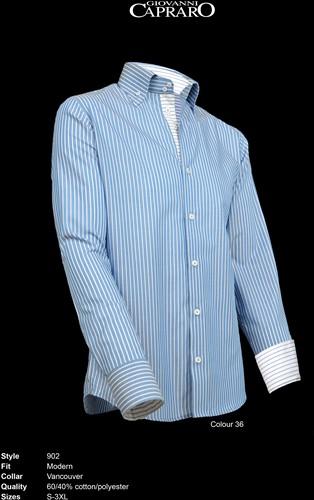 Giovanni Capraro 902-36 Overhemd - Blauw gestreept [Blauw accent]