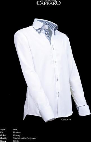 SALE! Giovanni Capraro 903-10 Heren Overhemd - Wit [Zwart accent] - Maat M