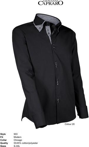 Giovanni Capraro 903-20 Overhemd - Zwart [Zwart accent]