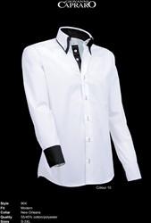 Giovanni Capraro 904-10 Overhemd - Wit [Zwart accent]