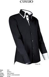 Giovanni Capraro 904-20 Overhemd - Zwart [Wit accent]
