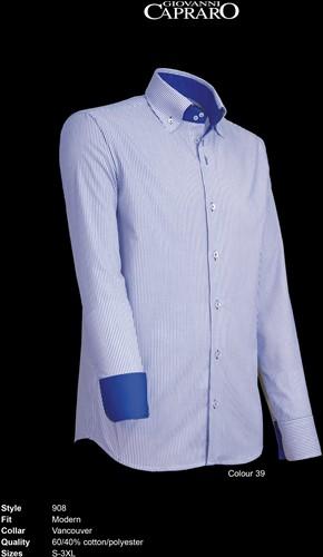Giovanni Capraro 908-39 Overhemd - Blauw gestreept [Blauw Accent]