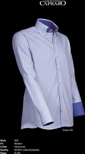 Giovanni Capraro 908-85 Overhemd - Blauw gestreept [Rood Accent]