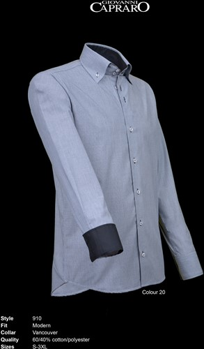Giovanni Capraro 910-20 Overhemd - Grijs [Zwart accent]