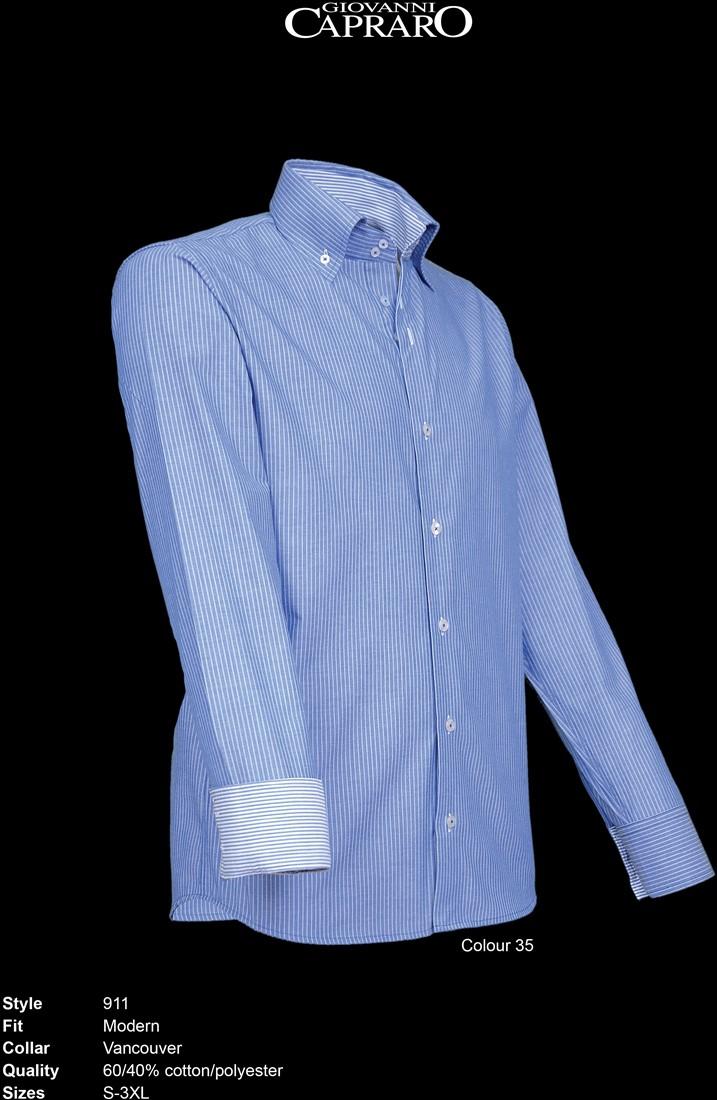 35 Giovanni Capraro 911 Overhemd Gestreept Workwear4all Blauw XkiPuZ
