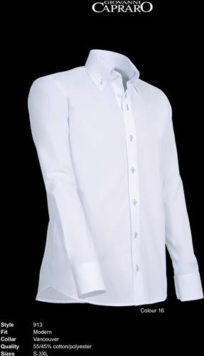 Giovanni Capraro 913-16 Overhemd - Wit [Grijs accent]