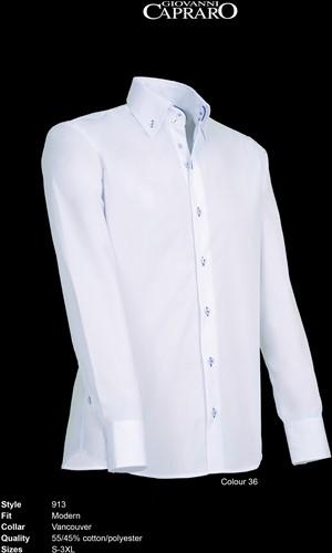 Giovanni Capraro 913-36 Overhemd - Wit [Blauw accent]