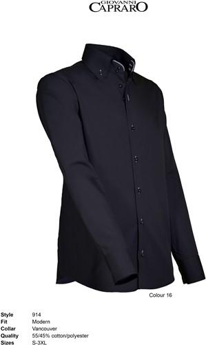 Giovanni Capraro 914-16 Overhemd - Zwart [Grijs accent]